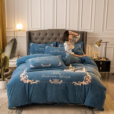 2020新款高克重大版数码印花双面牛奶绒轻奢法莱绒水晶绒四件套 1.8m床单款四件套 皇家情怀-蓝