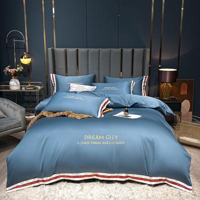 2021新款数码边水洗真丝刺绣四件套系列 1.5m床单款四件套 宾利蓝