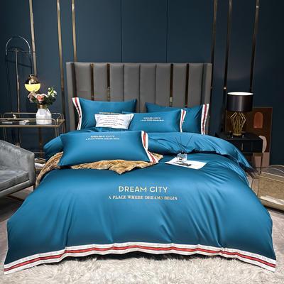 2021新款数码边水洗真丝刺绣四件套系列 1.5m床单款四件套 月光蓝