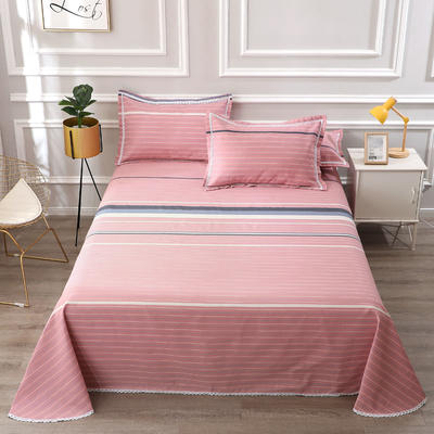 老粗布凉席三件套 230*240cm花边床单三件套 风姿格莉-粉