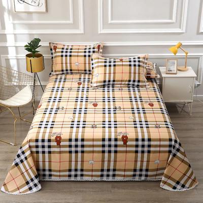 老粗布凉席三件套 230*240cm花边床单三件套 浪漫小熊
