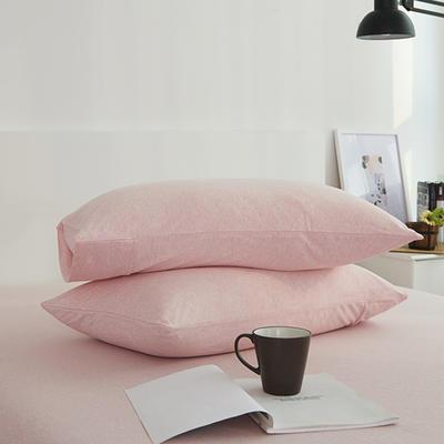 2020新款全棉色纺针织棉条纹纯色套件系列2—单品枕套 47cmx74cm/对 001浅粉