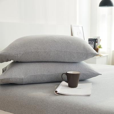 2020新款全棉色纺针织棉条纹纯色套件系列1一单品枕套 48cm*74cm一对 麻灰纯色