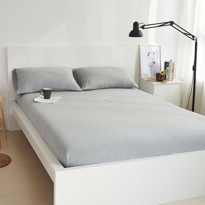 2020新款全棉色纺针织棉条纹纯色套件系列1一单品床笠 150cmx200cm+25床笠 麻灰纯色