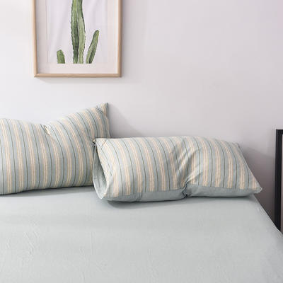 2020新款全棉色纺针织棉条纹纯色套件系列3一单品枕套 48cm*74cm一对 菜绿细条