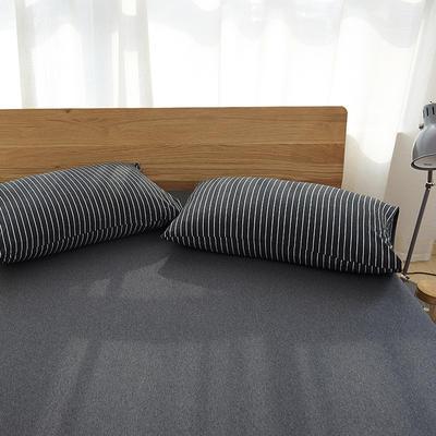 2020新款全棉色纺针织棉条纹纯色套件系列4—单品枕套 48cmX74cm/对 黑白细条