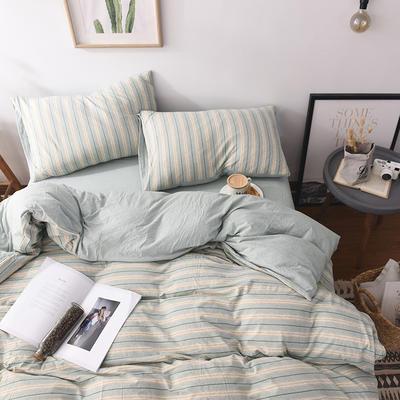 2020新款全棉色纺针织棉条纹纯色套件系列3一单品床单 200cmx250cm床单 菜绿细条
