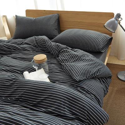 2020新款全棉色纺针织棉条纹纯色套件系列4—单品床单 200x250cm 黑白细条