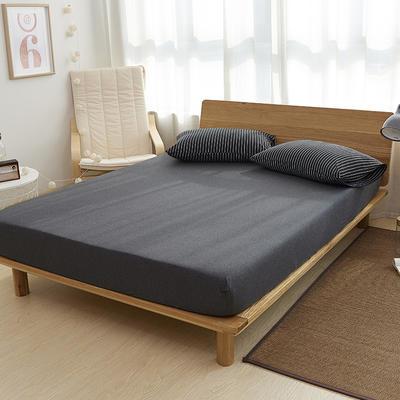 2020新款全棉色纺针织棉条纹纯色套件系列4—单品床笠 150cmx200cm+25 黑白细条