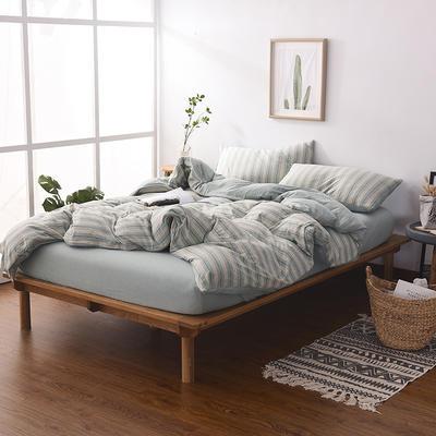 2020新款全棉色纺针织棉条纹纯色套件系列3一单品床笠 150cmx200cm+25床笠 菜绿细条