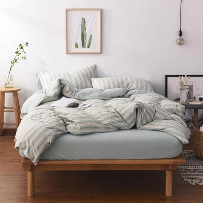 2020新款全棉色纺针织棉条纹纯色套件系列3一四件套 1.5m床单款四件套 菜绿细条