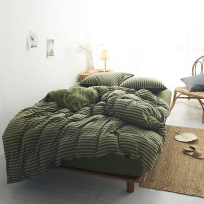 2020新款全棉色纺针织棉条纹纯色套件系列5一四件套 1.5m床单款四件套 军绿中条
