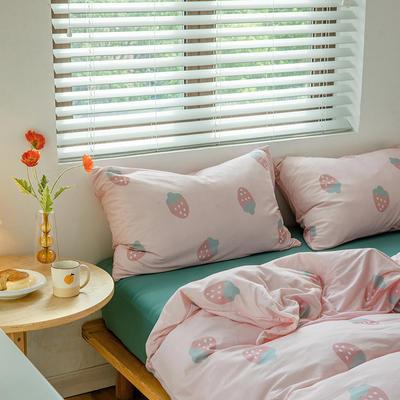 2020新款天竺棉全棉活性印花针织棉系列-单品床笠 150cmx200cm+25cm床笠 草莓