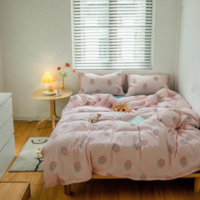 2020新款天竺棉全棉活性印花针织棉系列-套件 1.5m床单款四件套 草莓