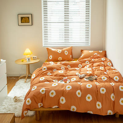 2020新款天竺棉全棉活性印花针织棉系列-套件 1.5m床单款四件套 荷包蛋
