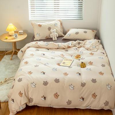 2020新款天竺棉全棉活性印花针织棉系列-套件 1.5m床单款四件套 欢乐猫