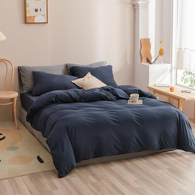 2020新款印染纯色针织棉套件系列-单品床单 200cmx250cm床单 印-藏青