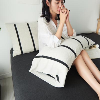 2020新款全棉针织大循环针织棉系列-单品枕套 48*74cm一对 白黑宽条