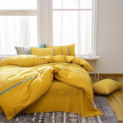 2020新款水洗棉印花四件套(北欧格系列) 1.8m床单款四件套 北欧格·黄