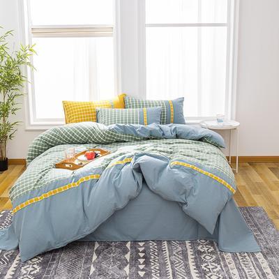 2020新款水洗棉印花四件套(北欧格系列) 1.8m床单款四件套 北欧格·蓝
