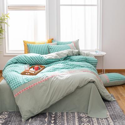 2020新款水洗棉印花四件套(北欧格系列) 1.8m床单款四件套 北欧格·绿