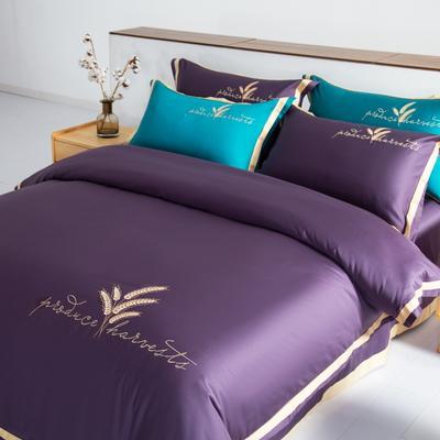 2020新款60s长绒棉绣花拼角四件套(一麦两穗系列) 1.8m床单款四件套 一麦两穗·魅力紫