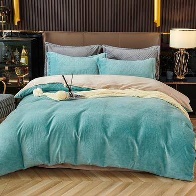 2021新款牛奶绒3D立体欧式复古雕花四件套 1.8m床单款四件套 古典蓝青