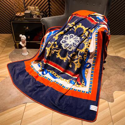 2021新款猫卡绒双层复合数码印花休闲毯盖毯 200*230cm 巴洛金玉