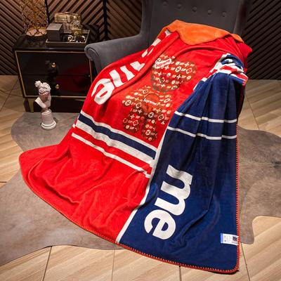 2021新款猫卡绒双层复合数码印花休闲毯盖毯 200*230cm 徽章