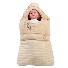彩棉有绑带抱被 棕78cm厚款