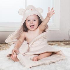 彩棉小熊有耳朵抱被 纯棉包被 婴儿全棉抱被 招代理 其它 彩棉棕色薄款