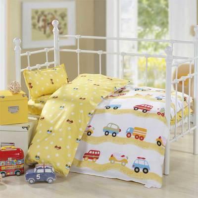 全棉经典幼儿园三件套(含芯)为六件套 纯棉儿童床品 招代理 套子+丝棉(薄款)被芯+丝棉垫芯+珍珠棉 黄色小汽车
