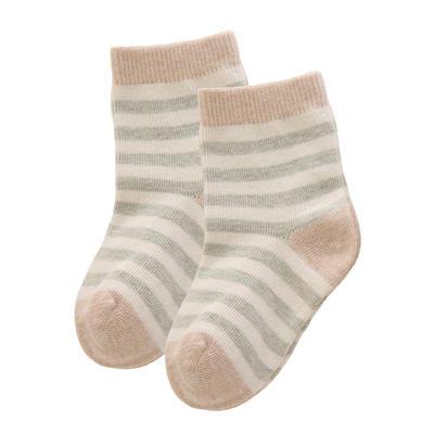 有机彩棉童袜 纯棉新生儿袜子0-1-3岁宝宝 M(0-3月) 棕条+绿跟(1双)