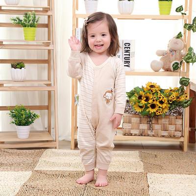 新款天然彩棉新生儿连身衣宝宝开肩小猴长袖闭裆连体衣 80码 棕色