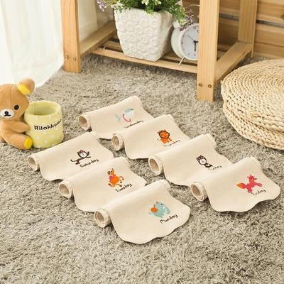 厂家直供 新款婴幼儿彩棉吸汗巾 星期创意款 垫背巾 小号 棕色