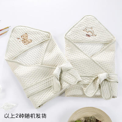 新款彩棉空气层抱被 纯棉抱被 全棉包被 招代理 一件代发 其它 绣花绿均码