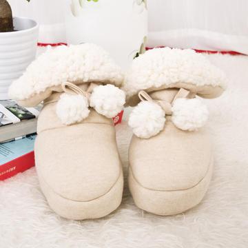 麦吻 婴儿彩棉保暖棉鞋 秋冬季加厚纯棉脚套 羊羔绒宝宝学步鞋