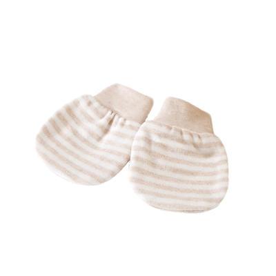 全棉 彩棉新生儿手套 婴儿防抓手套免费代理一件代发 11*8 彩条罗纹