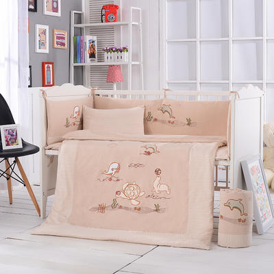 新品上市精品彩棉绣花婴儿床围多件套 一件代发 床围四件套 海底世界