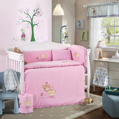 幼儿园高档针织绣花款儿童针织纯棉多件套 全棉十件套  婴童床品 床围四件套 爱心之旅-粉