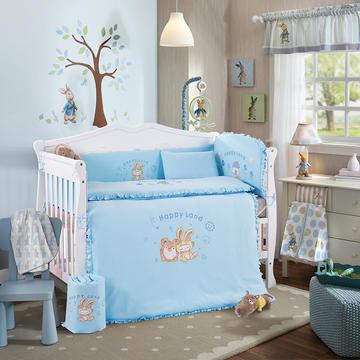 幼儿园高档针织绣花款儿童针织纯棉多件套 全棉十件套  婴童床品