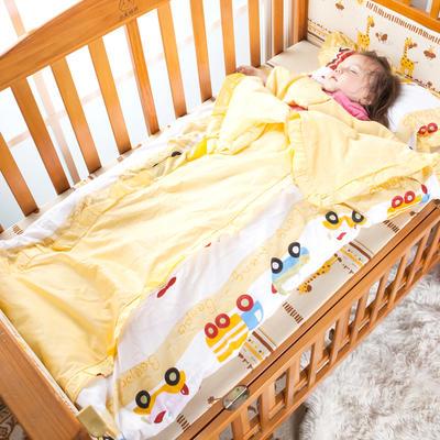 全棉儿童睡袋被子两用可拆卸防踢被 婴童被子免费代理 120*150套子+棉花芯 黄色小汽车