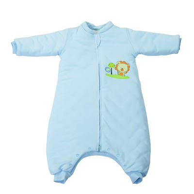 全棉小狮子分腿睡袋(长袖款) 70cm长袖双层布(S) 蓝色