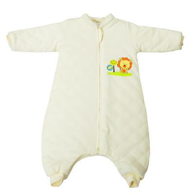 全棉小狮子分腿睡袋(长袖款) 100cm长袖双层布(L) 黄色
