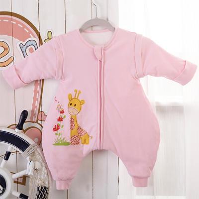 清仓特价全棉小鹿蝴蝶分腿睡袋 长袖双层布95cm(XL) 粉色
