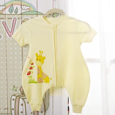 全棉小鹿蝴蝶分腿睡袋(短袖) 75cm(M) 黄色