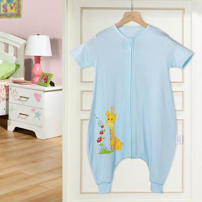 全棉小鹿蝴蝶分腿睡袋(短袖) 95cm(XL) 蓝色