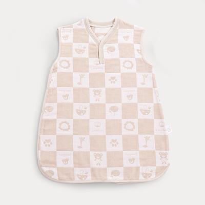男女童手工彩棉格子纱布提花背心睡袋 S 竖襟款