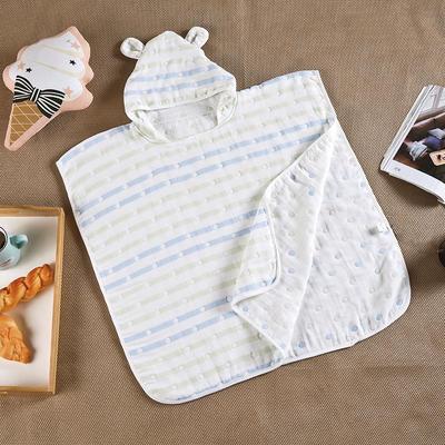 纯棉5层提花纱布 儿童纱布提花斗篷装 盖毯 披风 均码 蓝色