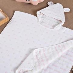 纯棉5层提花纱布 儿童纱布提花斗篷装 盖毯 披风 均码 粉色